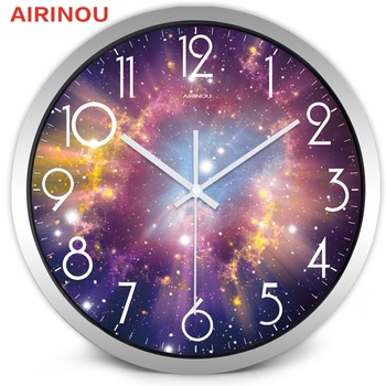 Airinou the Moon Starry Sky and Mars 3 Styles ,Glass&Metal Silent Movement Wall Clock,Children Room Museum Theme Park  Decorate 17