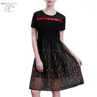 ElaCentelha Women Dress Luxury Summer Ladies Short Sleeve Lace Embroidery Patchwork Party Dresses Vestidos Brand Clorhing