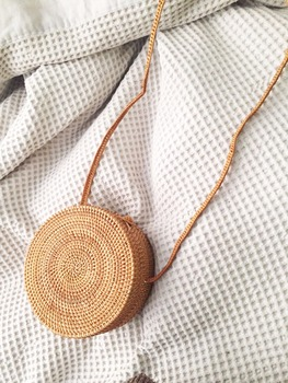 2018 women Rattan Handmade Bag  New Medium Rectangle Ata Grass Crossbody Bali Boho Basket Сумка
