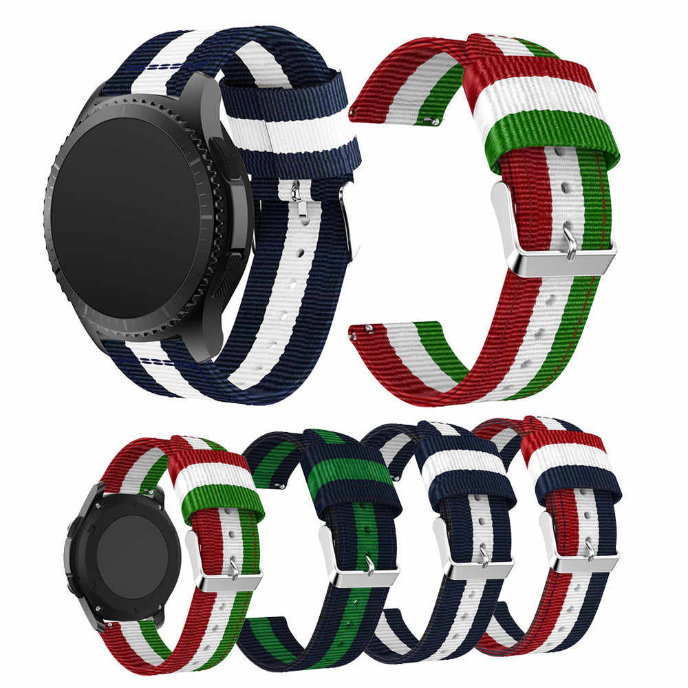 Watch Band Fine Woven Nylon Sport Strap Bracelet Wristband Adjustable Replacement for Samsung Gear S3 Frontier / S3 Classic