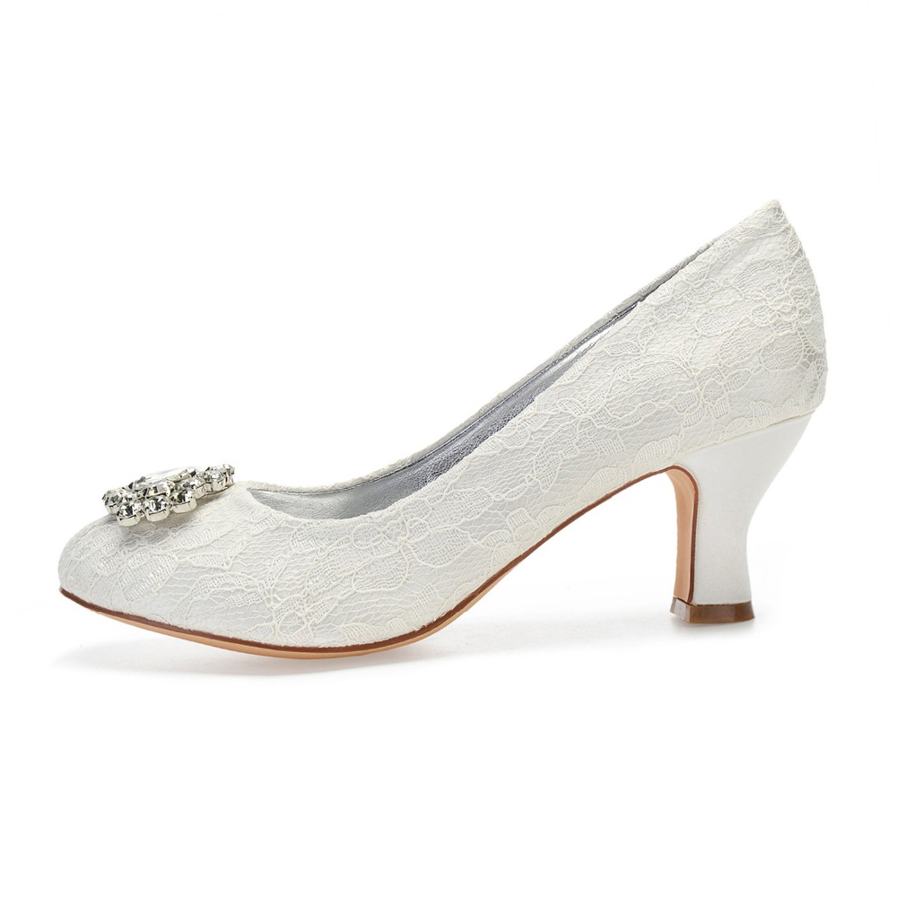 Ivory lace wedding heels