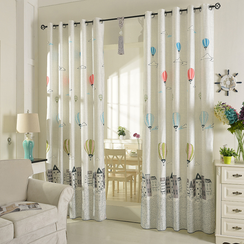 Half Shade Korean Cartoon Wind Flying A Balloon Boy And Children Curtains For Living Room Bedroom Kids Kindergarten In From Home Garden On