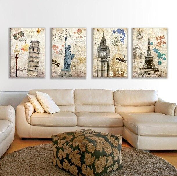 Architectural Wall Art aliexpress : buy 4 piece no frame european landscape famous