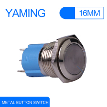 16mm Momentary self reset Flat Round Push Button on off Switch 3 pins terminal press Metal control interuptor electronic V014