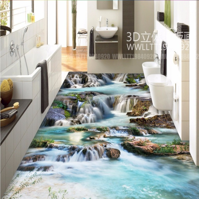 Free Shipping Waterfalls River 3D Floor Tiles Kitchen Bathroom Floor waterproof thickened living room flooring wallpaper mural free shipping ground cracked canyon square street 3d park floor stickers thickened moisture proof flooring wallpaper mural