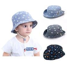 Уличная детская Солнцезащитная шляпа со звездами для девочек и мальчиков, кепка с широкими полями для детей, Пляжная летняя Панама для малышей