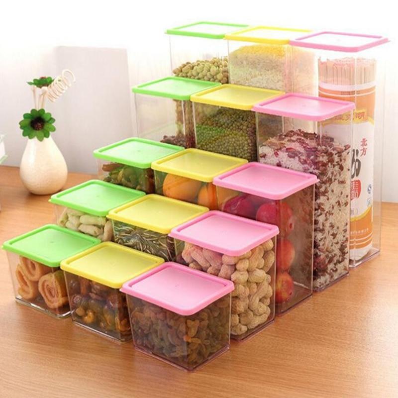 Caja de almacenamiento de alimentos de plástico Contenedor de granos Organizador de cocina Organizador de cocina Alimentos Bocadillos Organizador