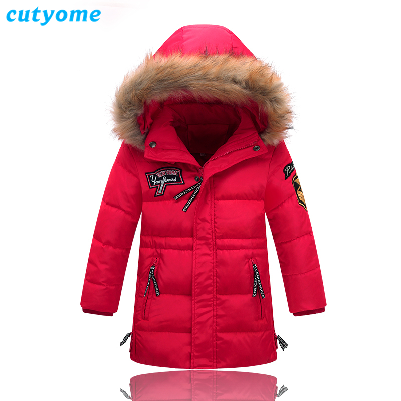 Winter Long Thicken Down Jackets for Boys & Girls Cutyome 70% White Duck Down Hooded Parka Coats Warm Children Snowsuit Clothing buenos ninos thick winter children jackets girls boys coats hooded raccoon fur collar kids outerwear duck down padded snowsuit