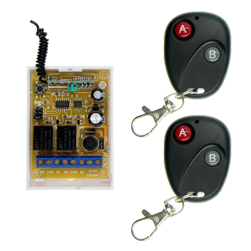 2 IN 1 DC 12V 24V 10A 2CH 2 CH RF Wireless Remote Control Switch System Transmitter + Receiver 315/433 MHz