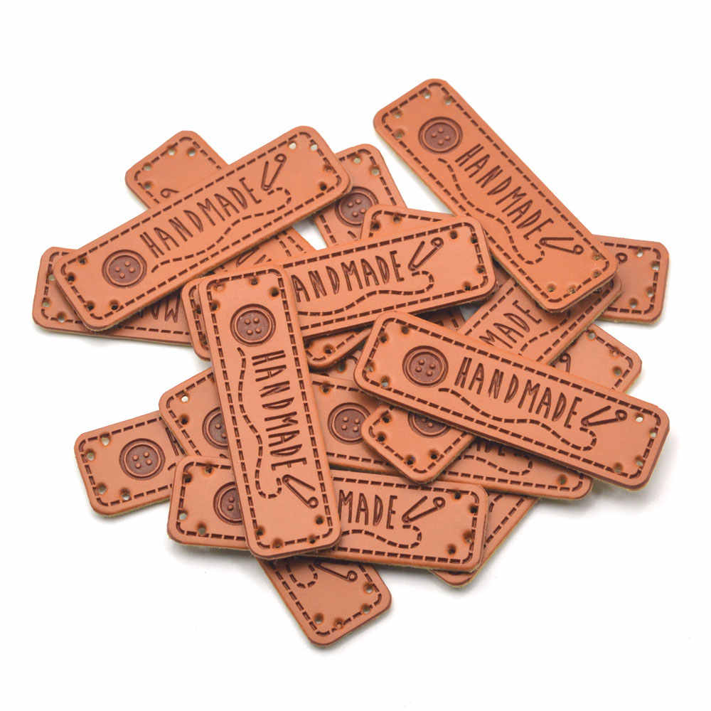 KALASO Wholesale 30pcs Buttons Handmade Labels Clothes Garment PU Leather Labels Hand Made Tags Jeans Bags Shoes Sewing Supplies