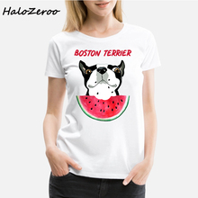 Vogue New Fashion Boston Terrier Printed Funny White T shirt Women Short Sleeve Oneck Harajuku Streetwear Tops Aesthetic Clothes