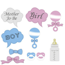 10pcs Funny Gender Reveal Props Boy Or Girl Pink Or Blue Photobooth Props Birthday Party Baby Shower Decoration Baby's Bottles