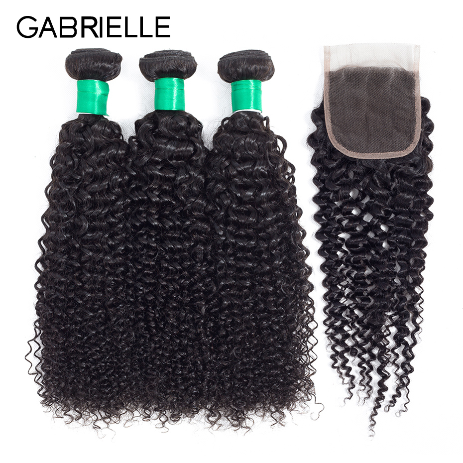 Gabrielle Peruvian Human Hair with Closure Kinky Curly Natural Black Color 3 Bundles with Lace Closure