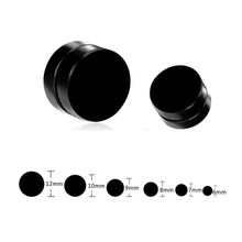 Black Double Sided Stainless Steel Magnetic Earrings For Men Magnet Stud Earrings Without Piercing Male No pierced Earring(China)