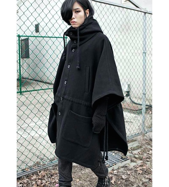 21590ef39c6 2016 Fashion Harajuku Gothic Clothing Black Mens Jacket Trench Coat Wool  Men Fashion Brand Peacoat Hooded
