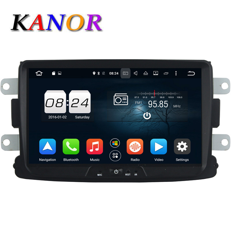 KANOR Octa Core Android 6.0 2G Car Video Player For Renault Duster Sandero Logan Dacia With GPS Headunit 8 1024*600 Bluetooth cmos штатная камера заднего вида avis avs312cpr для renault logan sandero 067
