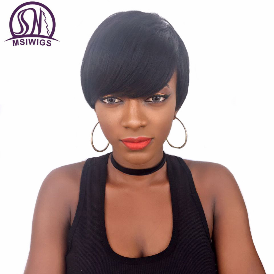 MSIWIGS Short Straight Wigs for Black Women Heat Resistant African American Black Synthetic Wig Cosplay With