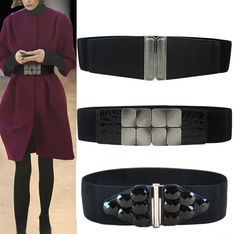 Women Fashion Black Acrylic Gem Vintage Buckle Cummerbund NEW Wide Elastic Stretch Waist Belt Amazing Waistband Lady For Dress