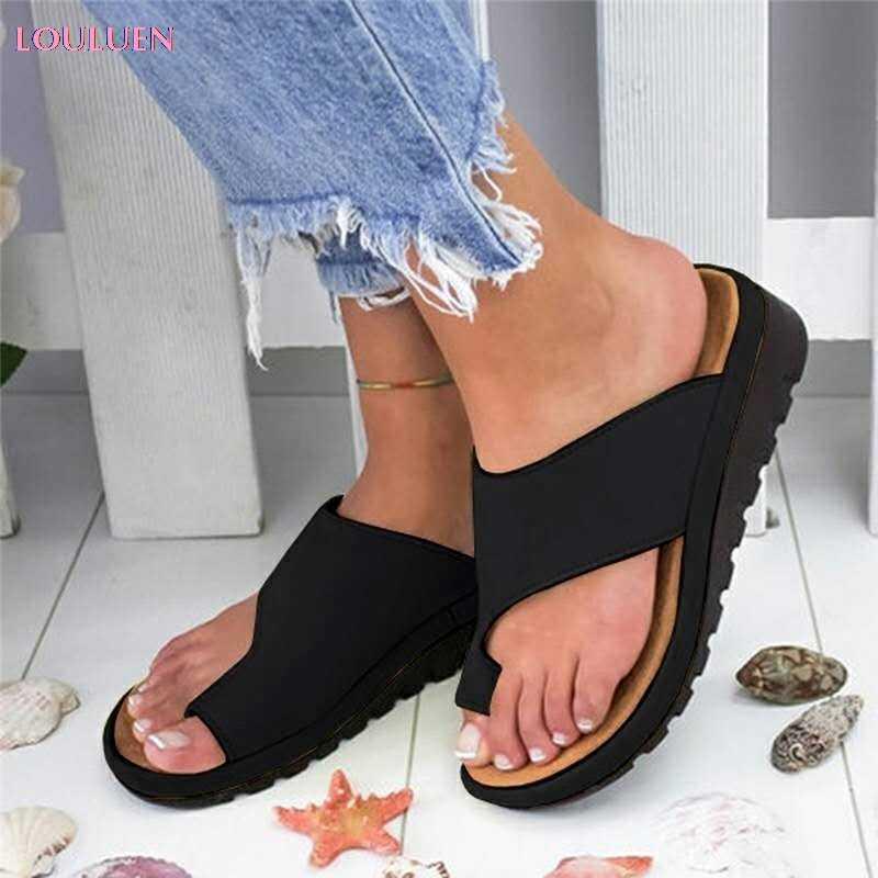 Женская обувь из искусственной кожи; удобные женские повседневные мягкие босоножки на плоской платформе с коррекцией стопы и большим носком; ортопедический корректор; #6