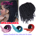 Colorful Dreadlock Extensions 20 Inches Ombre Color Crochet Braiding Tissage Synthetic Hollow Havana mambo Twist Hair Extensions