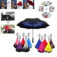 Windproof C Hook Umbrella Inverted Folded Double Layer Hands Free Travel Umbrellas Hogard