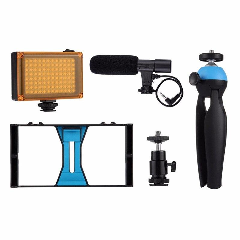 5 Sets Mobile Phone Video Rig + LED Studio Light + Video Microphone + Mini Tripod Mount Kits with Cold Shoe Tripod Head