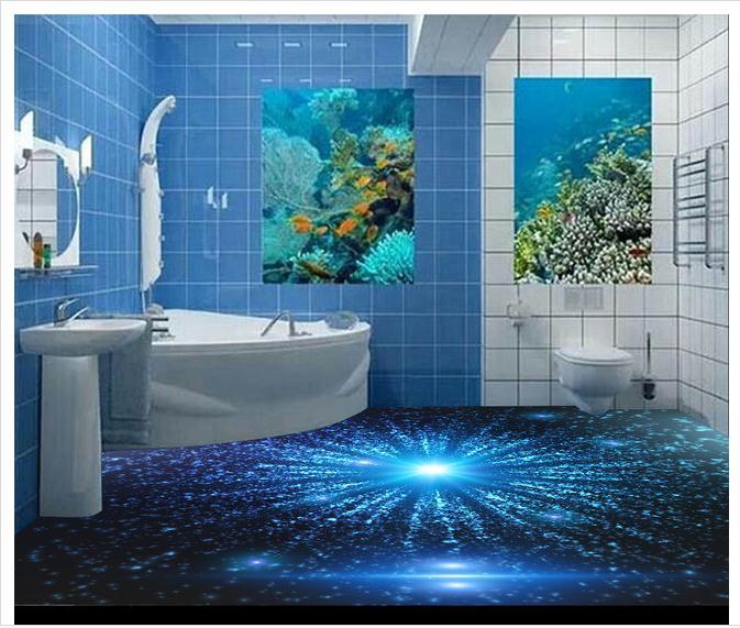 3D wallpaper custom 3d floor painting wallpaper 3 d blu ray technology floor sky pvc wallpaper 3d room decoration