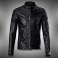 Leather jacket men Autumn and winter zipper brand designer chest tiepai stand collar male motorcycle leather clothing 463
