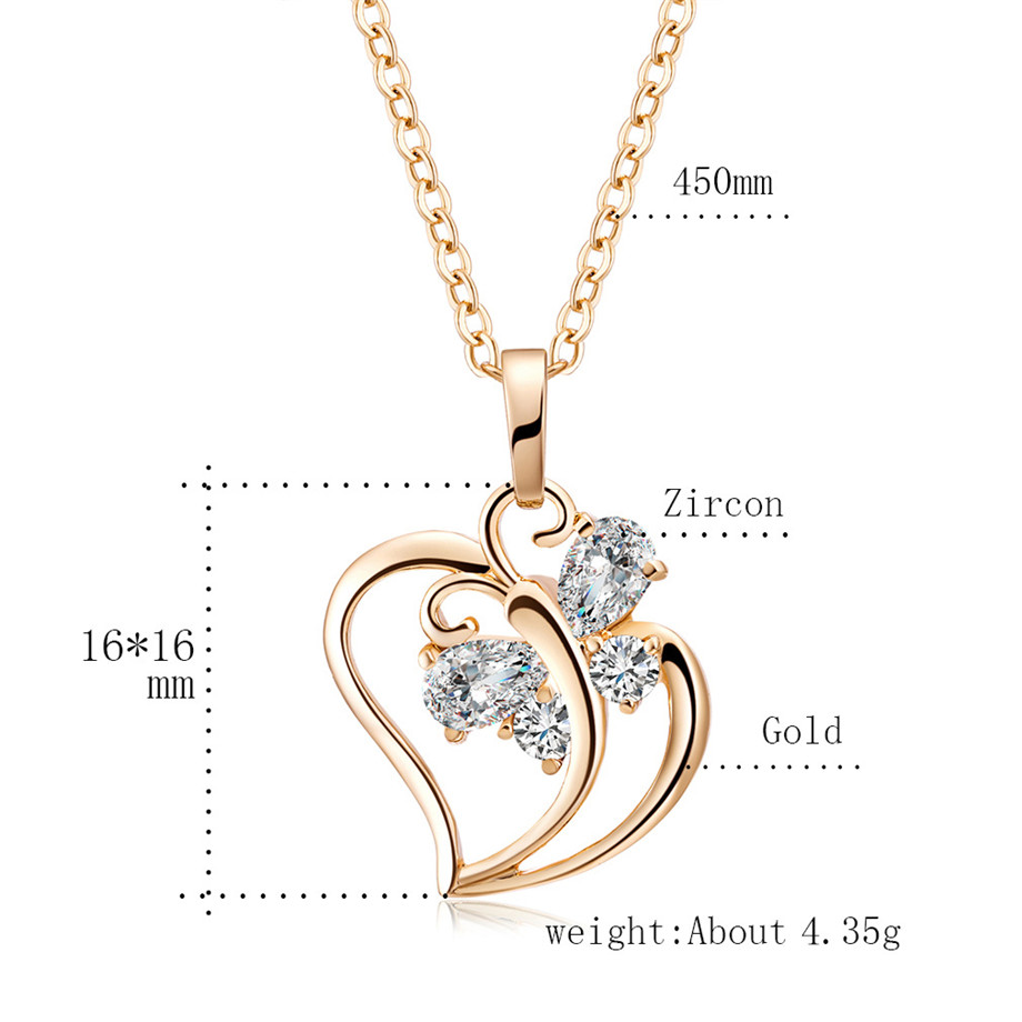 Trendy Cubic Zirconia Butterfly Heart Necklace Pendant Women Gold Color Neck Chain For Women Jewelry collier femme 2020