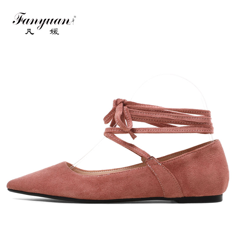 Fanyuan women shoes 2018 brand Solid Lace-up female Dress shoes beautiful Cross-tied Party lady Ballet Flats zapatos mujer geparlys beautiful lady