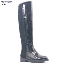 Waterproof Black Women Boots Glitter PU Suede Knee High Platform Square Heel Zipper Winter Fleece Shoe Med Heel Fashion Rainboot