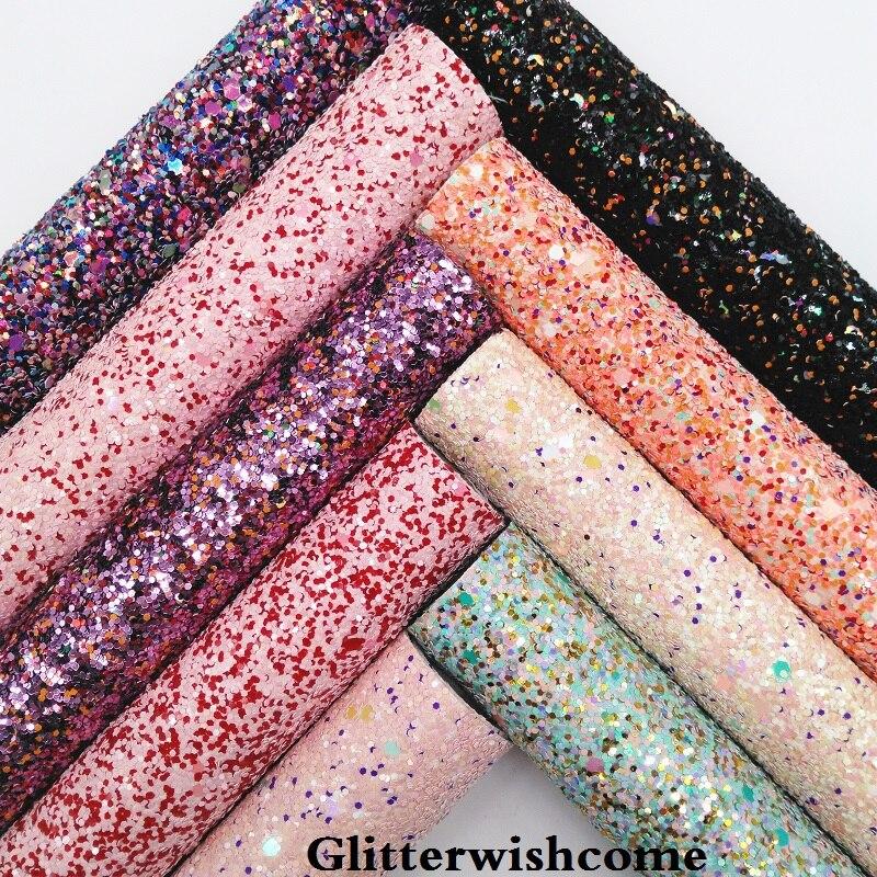 Glitterwishcome 21X29 см A4 размеры синтетическая кожа, коренастый блестящая кожаная ткань винил для Луки, GM060A