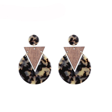Handmade Leopard Acrylic Earrings For Women Vintage Rectangle Earring Resin Big Earing Boho Jewelry