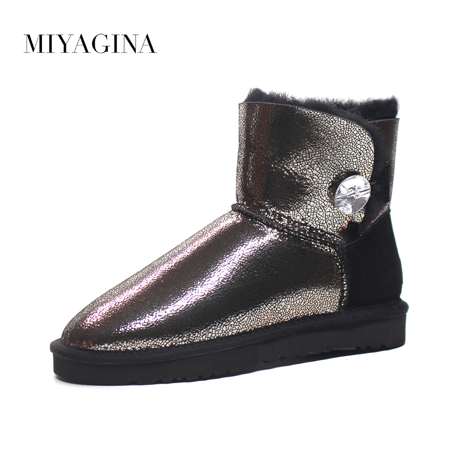MIYAGINA Top Quality 2018 New Fashion Natural Fur Botas Mujer 100% Genuine Sheepskin Leather Snow Boots Winter Warm Women Shoes бюстгальтеры befree бюстгальтер