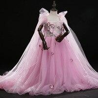 H 103, Детские Вечерние платья на свадьбу розовое платье принцессы со шлейфом, с цветочным узором, для девочек, для дня рождения, для выступлен
