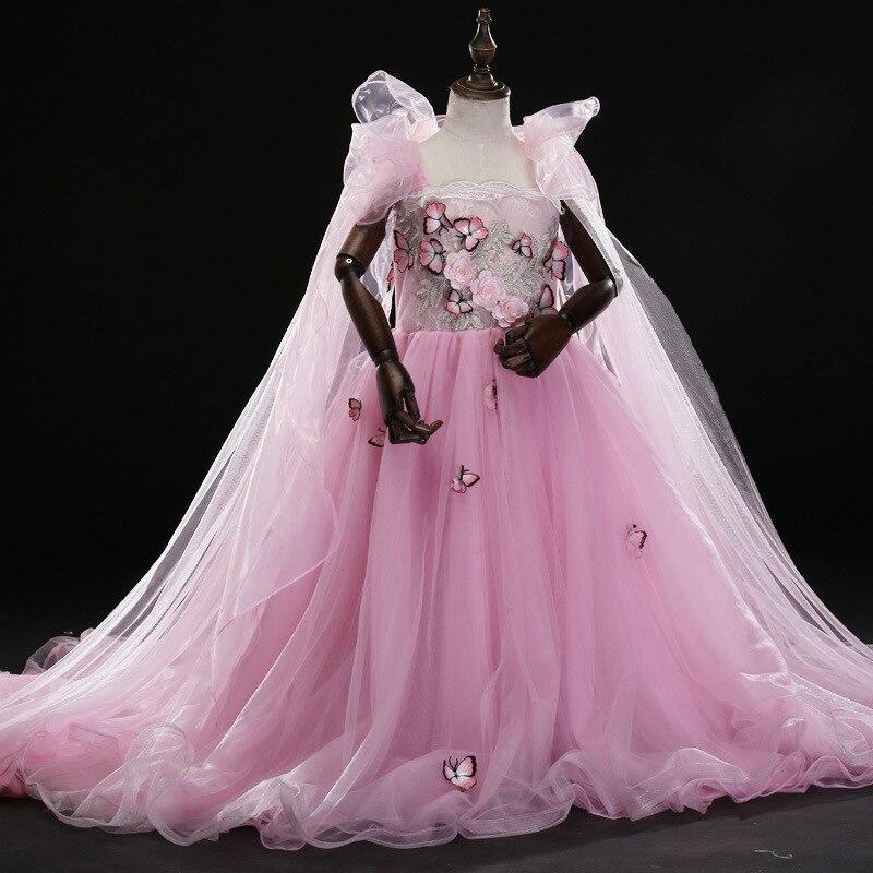 Robe de soirée de mariage pour enfants de H-103 robe de princesse rose échevelée