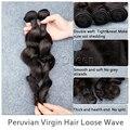 Необработанные Перуанский Человеческих Волос ExtensionLoose Волна Волос Связки Перуанский Девы Волос 5А Класс Естественный Цвет Волос Ткет 2 шт.