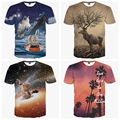 High quality big child casual popular short sleeve round neck 3D stereo animal printing boy T shirt 14-20 years old