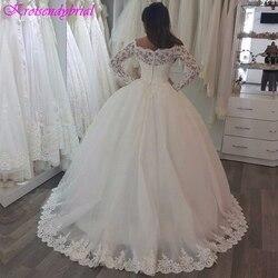 QFS024 robe de mariage Long Sleeves Lace Ball Gowns Wedding Dresses Beautiful Princess Bridal Dresses 2019 Vestidos De Noiva 2
