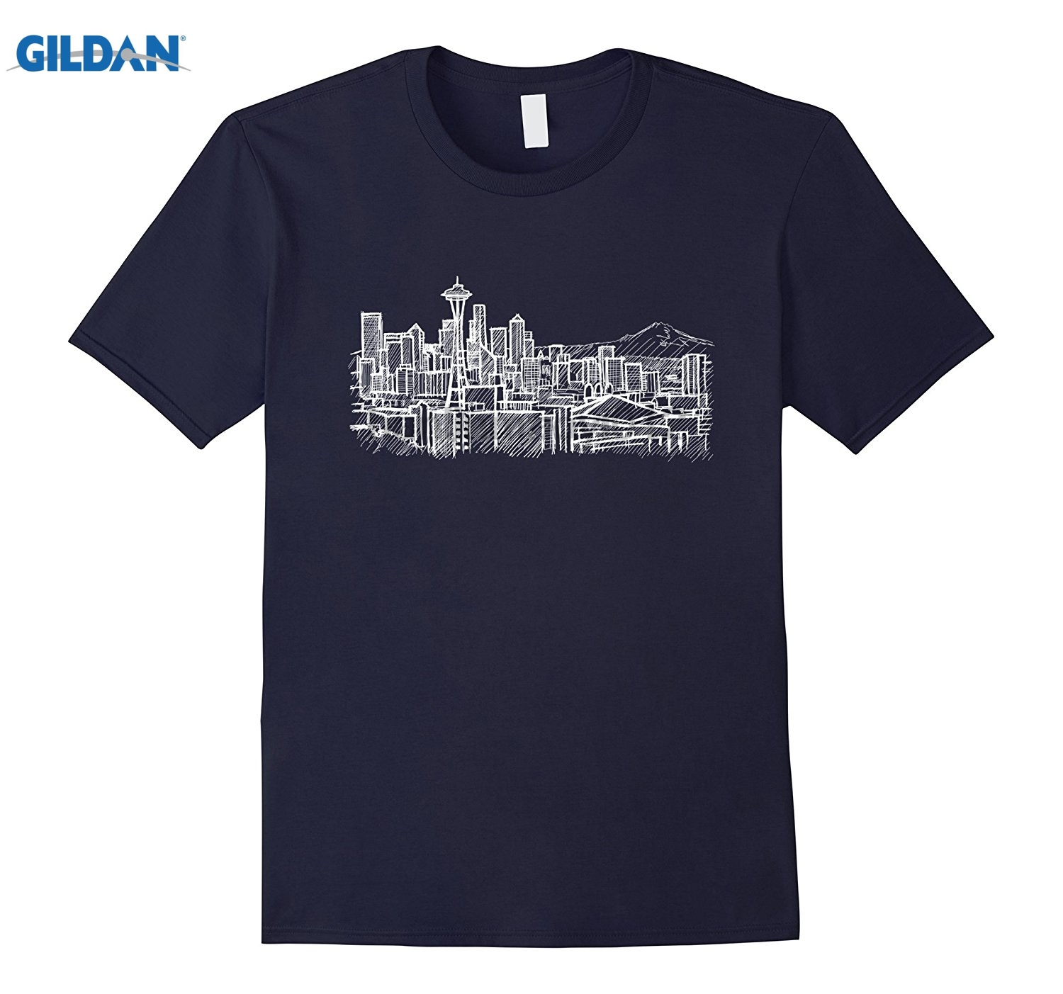 GILDAN Seattle Washington Skyline Panorama Drawing T Shirt Hot Womens T-shirt