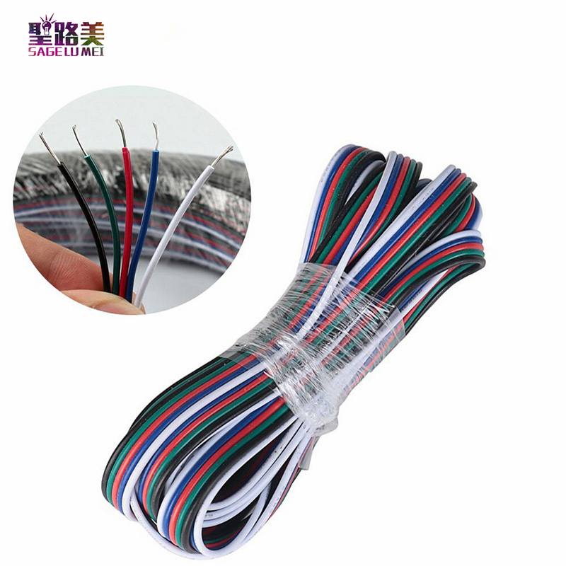 1m/2m/5M 2pin 4Pin 5pin electrical Extension wire,22 awg copper insulated wire, Connector Cable For RGB 3528 5050 LED Strip Tape 2 5