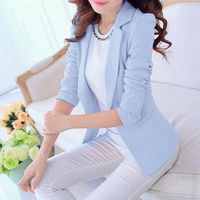 4 Colors Soft Spring Autumn Women Slim Blazers Solid Color Ladies Office Work Suit Female Coat