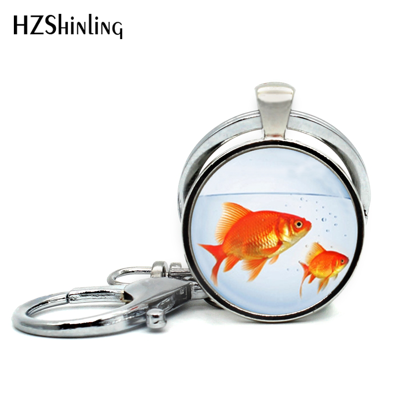 2017 New Fashion Fish Keychains Handmade Glass Dome Goldfish Bowl Keyring Art Photo Pendant Jewelry Key Chain For Women
