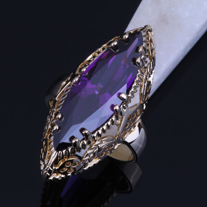 Love Monologue Vintage Party Jewelry Purple imitation Gemstone Ring For Women Yellow Gold Color Size 5/6/7/8/9/10/11 X0015