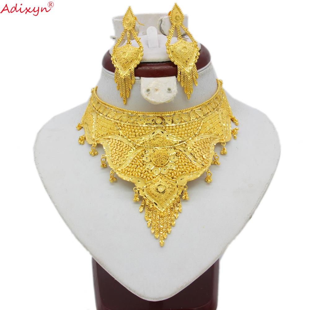 Adixyn Indian Big Size Jewelry Sets Gold Color Necklace/Earrings For Women African/Dubai/Arab Wedding Jewelry Gifts N08065(China)
