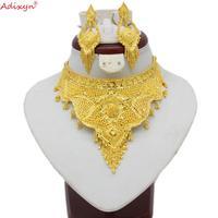 Adixyn индийские Большие размеры Ювелирные наборы золотого цвета ожерелье/серьги для женщин Африканский/Дубай/Арабский Свадебные Ювелирные и