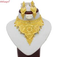 Adixyn Indian Big Size Jewelry Sets Gold Color Necklace/Earrings For Women African/Dubai/Arab Wedding Jewelry Gifts N08065