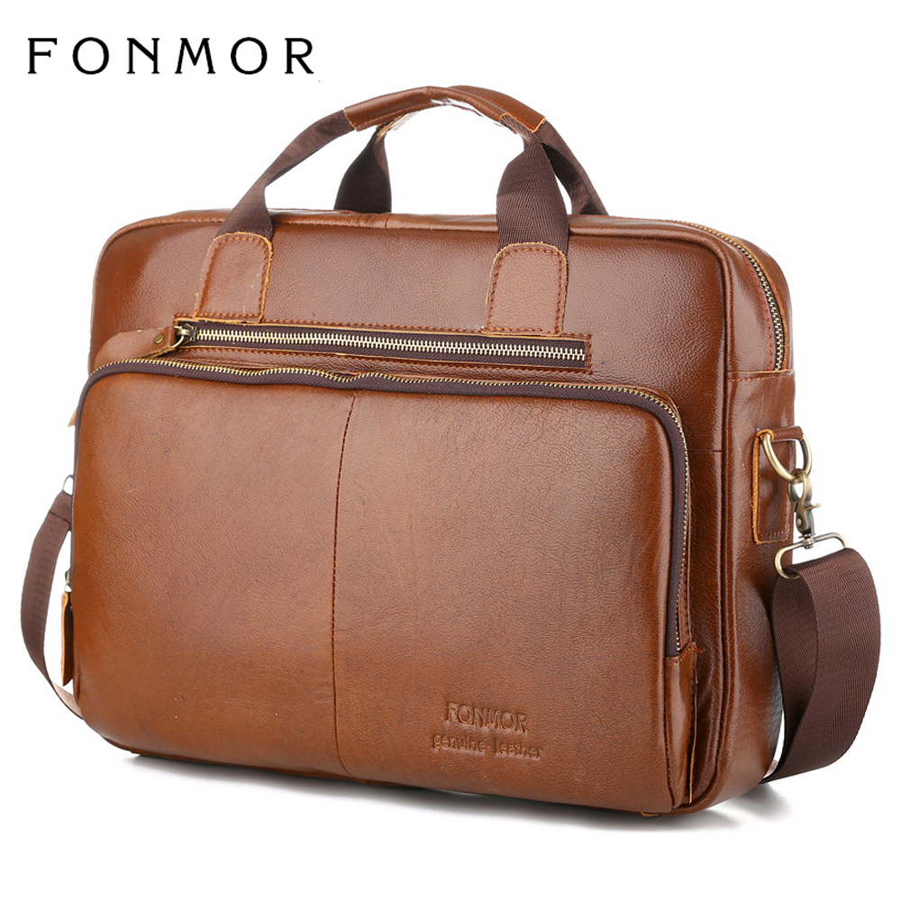 "New Arrival Business Causal Men Genuine Leather <font><b>Briefcase</b></font> 15"" Laptop Leather Bag High Quality Computer Shoulder bags Sac A Main"