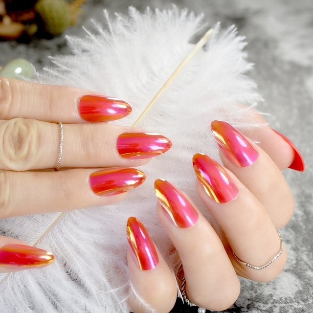 Chrome Mirror Fake Nails STILETTO Pointed Acrylic Nail Tips Red Sexy Manicure Decoration