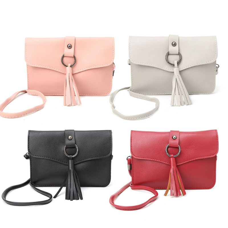 Fashion Women Girl Lady Mini Tassel Faux Leather Messenger Shoulder Crossbody Bag Handbag Solid Student Bags THINKTHENDO Soft thinkthendo new woven bags chain strap replacement for purse handbag shoulder bag accessories faux leather metal